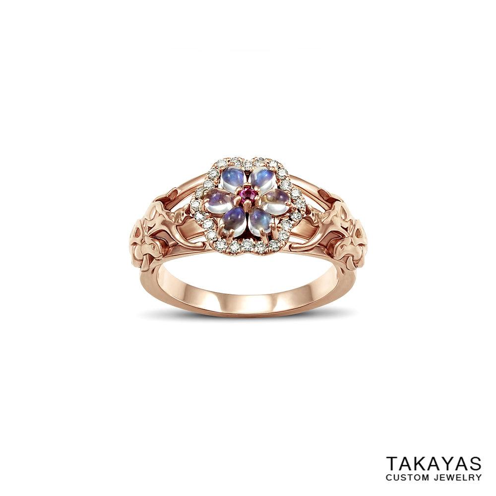 14K rose gold cat turtle moonstone engagement ring Takayas Custom Jewelry front