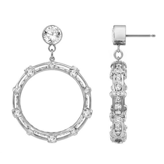 Bamboo Earrings 18K White Gold & Diamonds