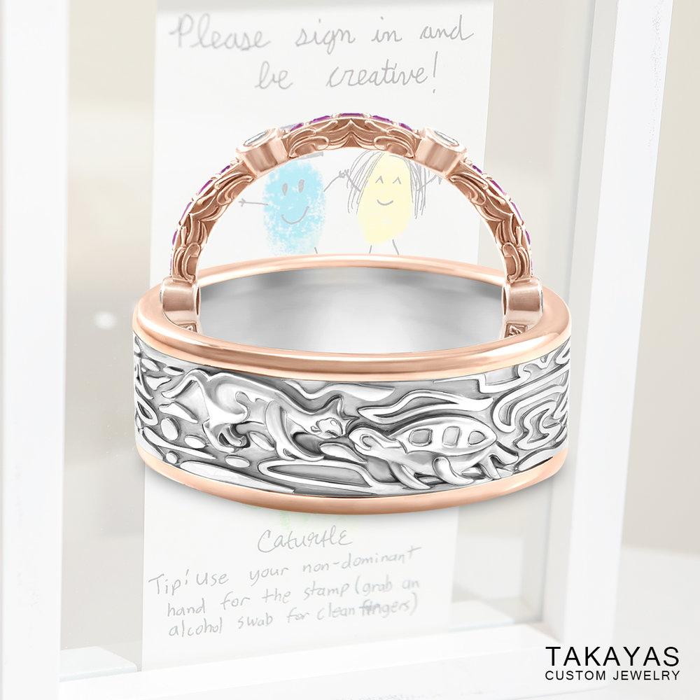 Cat Turtle Wedding Ring Set by Takayas Custom Jewelry