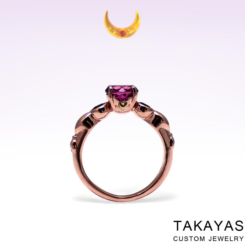 Rose Gold Chibi Moon Ring by Takayas Custom Jewelry