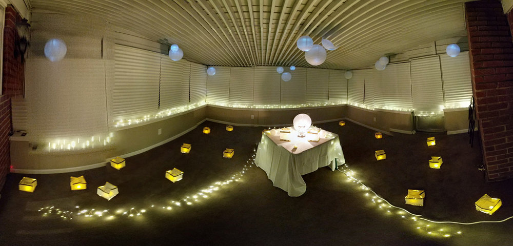 Mark's sunroom, decorated with lights for the proposal