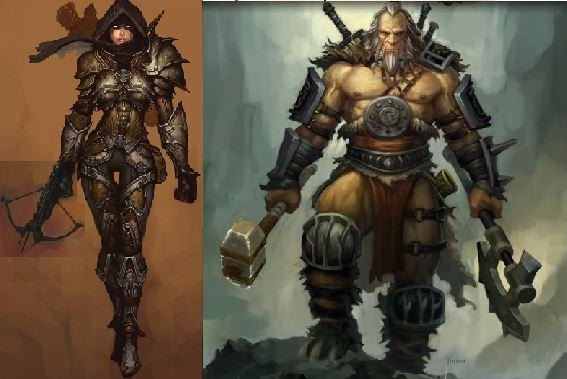 Diablo demon hunter and barbarian concept art