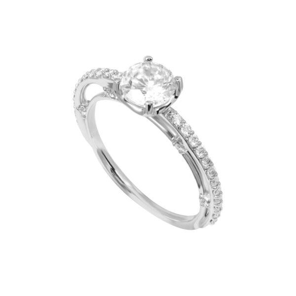 Eclipse Engagement Ring 18K White Gold Diamonds