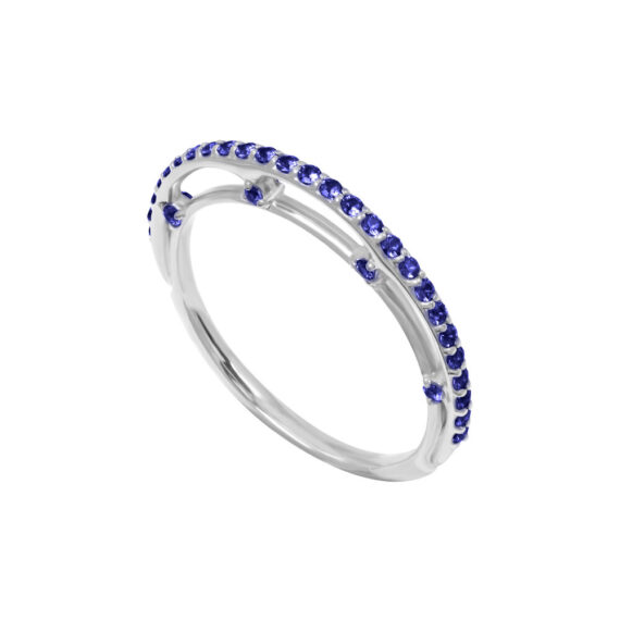 Eclipse Band 18K White Gold Blue Sapphires