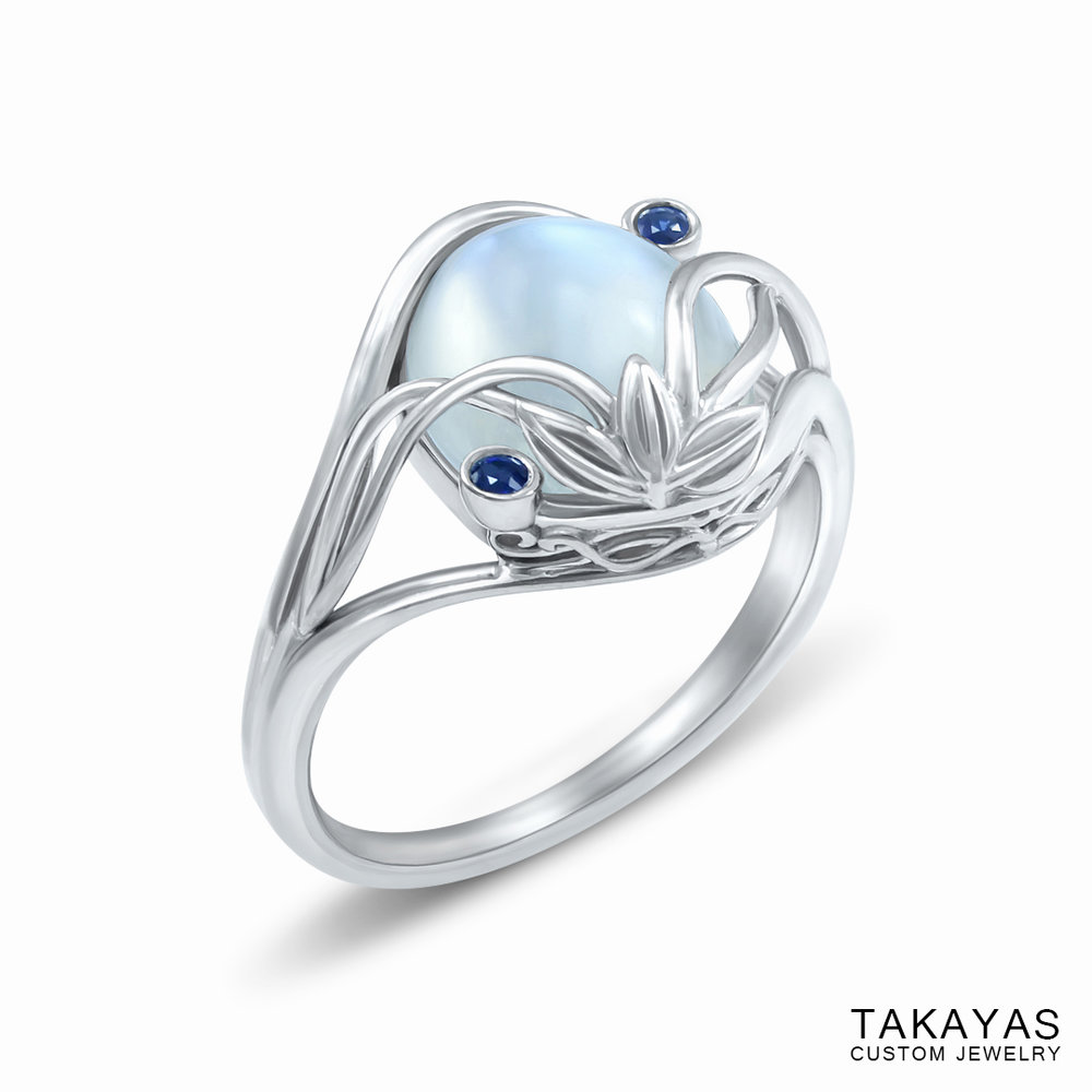 Elvish Moonstone Engagement Ring by Takayas - angled side view