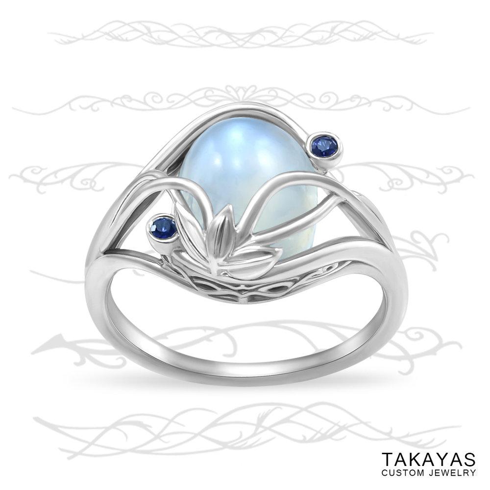 Elvish Moonstone Engagement Ring by Takayas Custom Jewelry