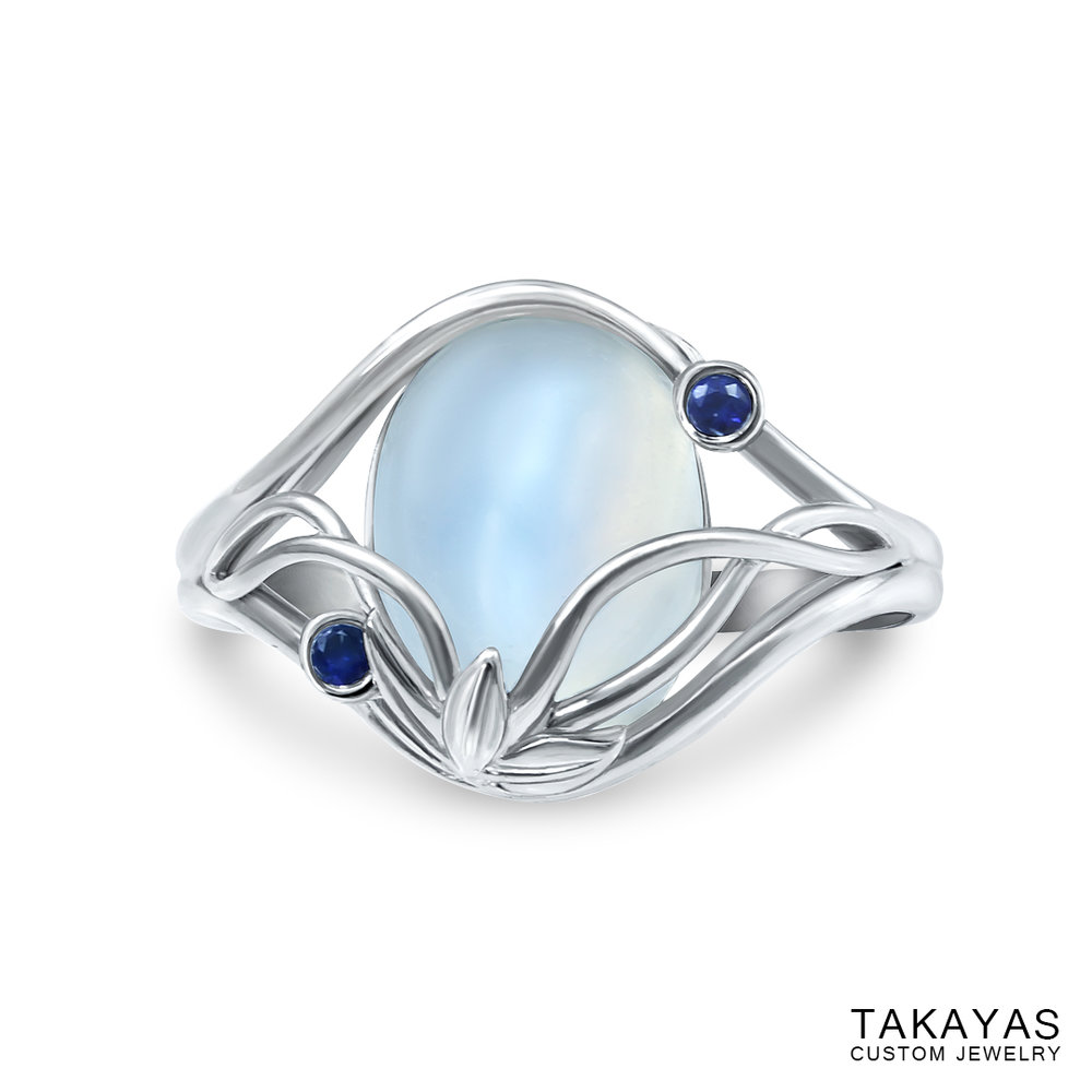 Elvish Moonstone Engagement Ring by Takayas - top down view