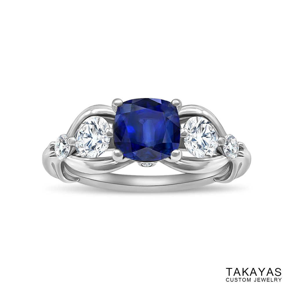 Photograph of FFXIV Carbuncle Engagement Ring by Takayas - angled top view