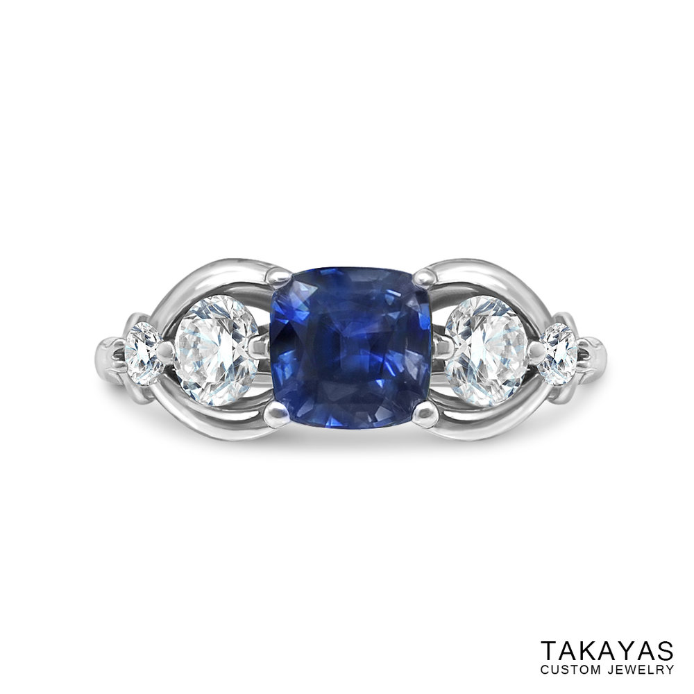 Photograph of FFXIV Carbuncle Engagement Ring by Takayas - top view view