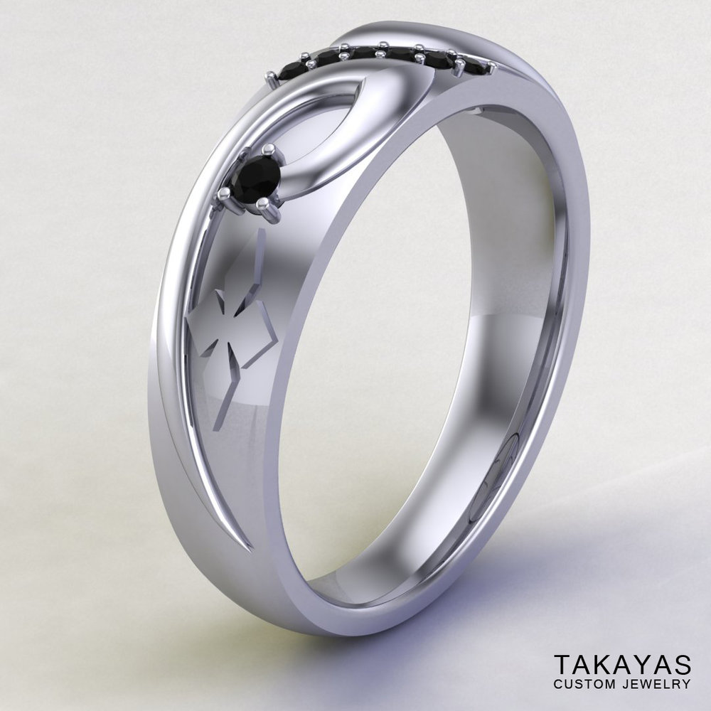 CAD rendering of Black Mage Final Fantasy wedding ring designed by Takayas - perspective view
