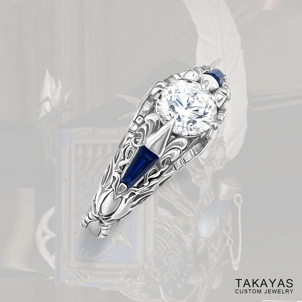 Final Fantasy XIV Scholar inspired engagement ring by Takayas Custom Jewelry - main image