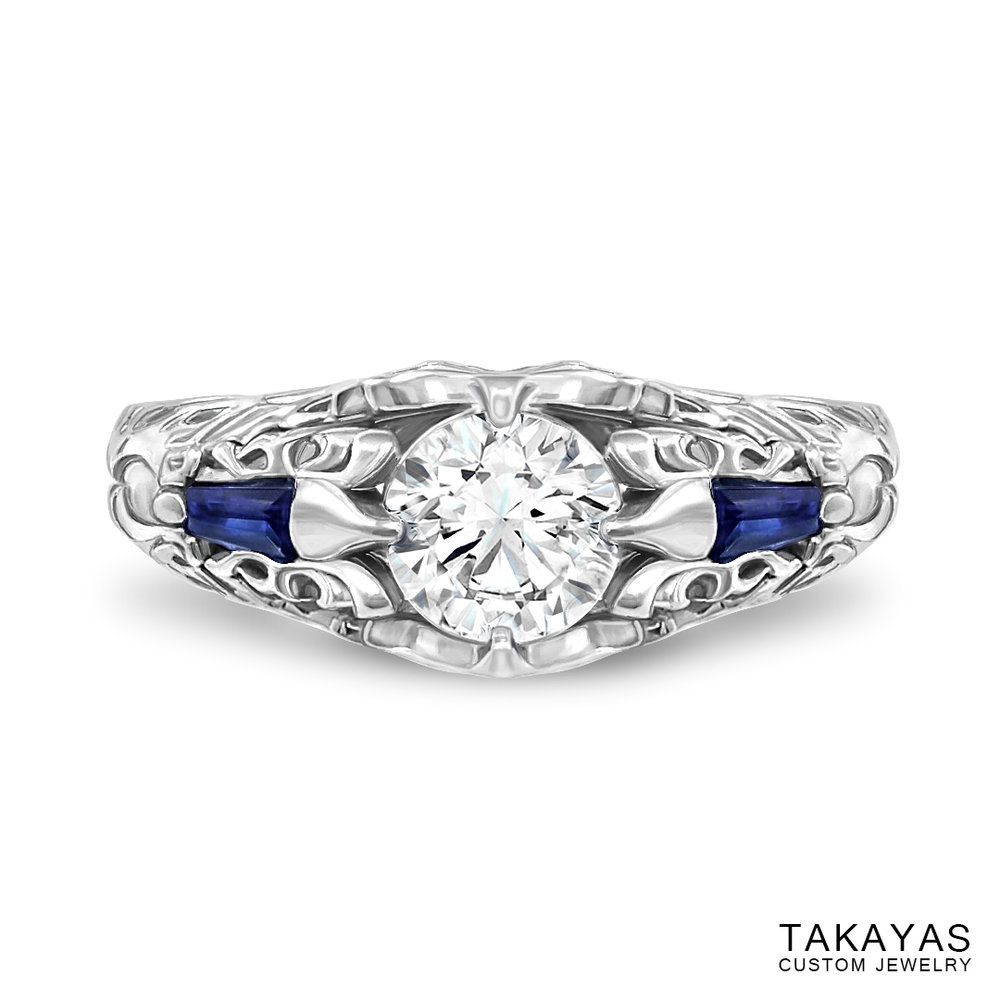 Photograph of finished FFXIV Scholar inspired ring by Takayas Custom Jewelry - top view