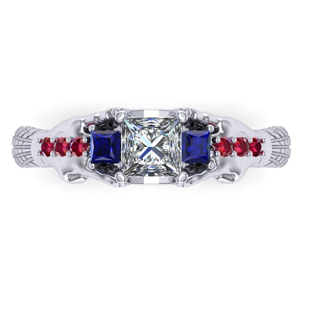 Gemmy Spider-Man engagement ring by Takayas CAD rendering - top view of blue-red option