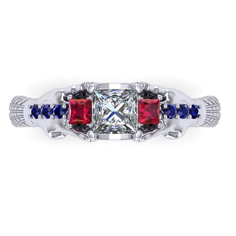 Gemmy Spider-Man engagement ring by Takayas CAD rendering - top view of red-blue option