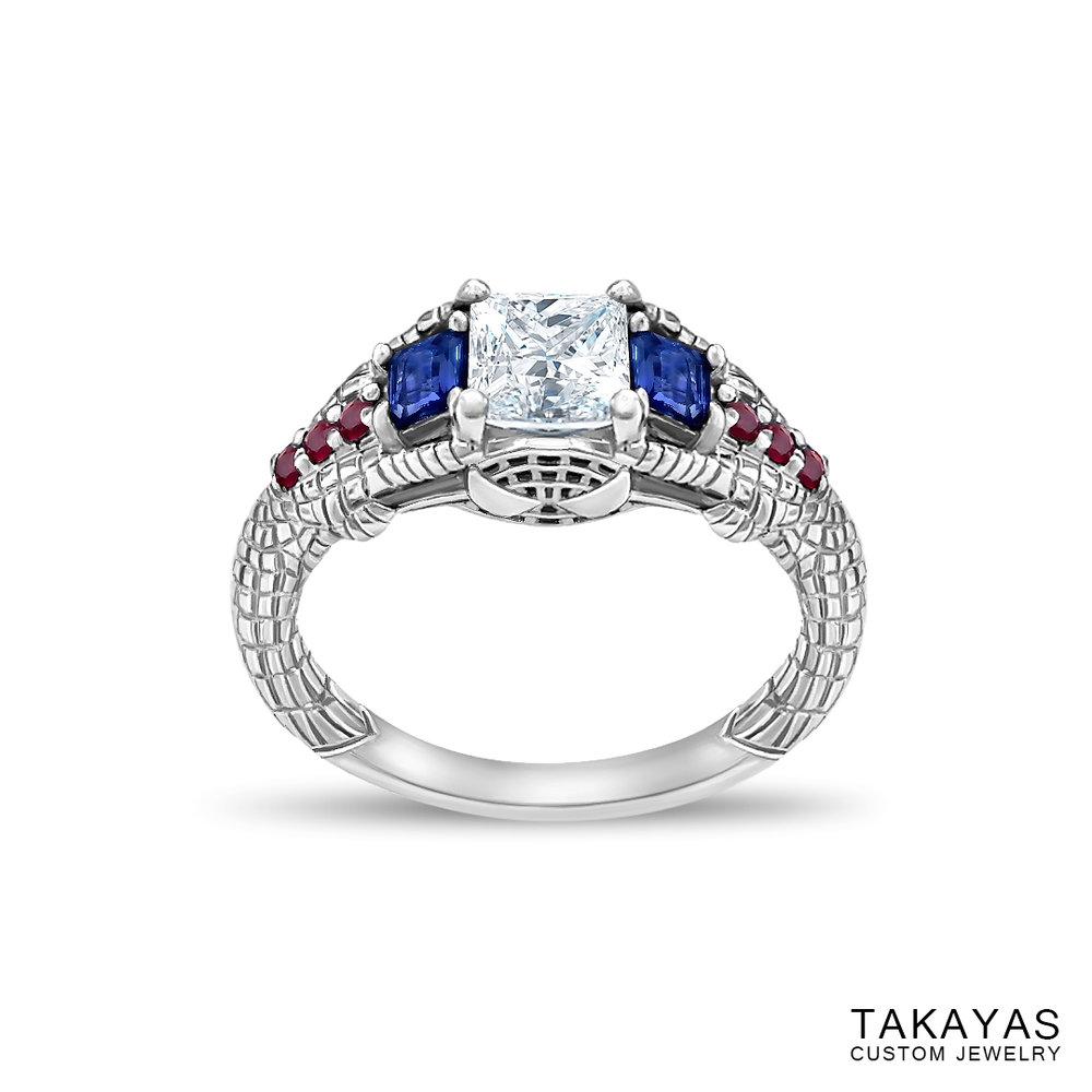 Gemmy Spider-Man engagement ring by Takayas - angled front view