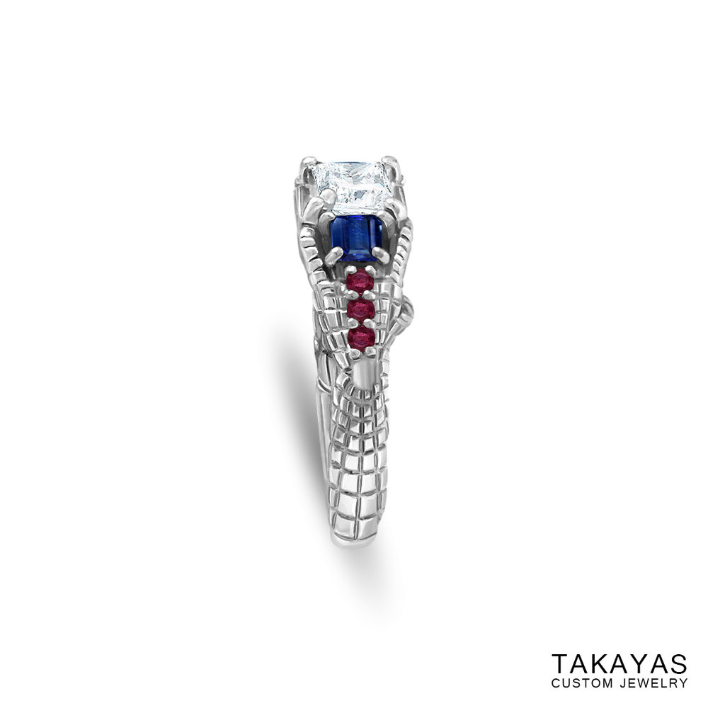 Gemmy Spider-Man engagement ring by Takayas - side view