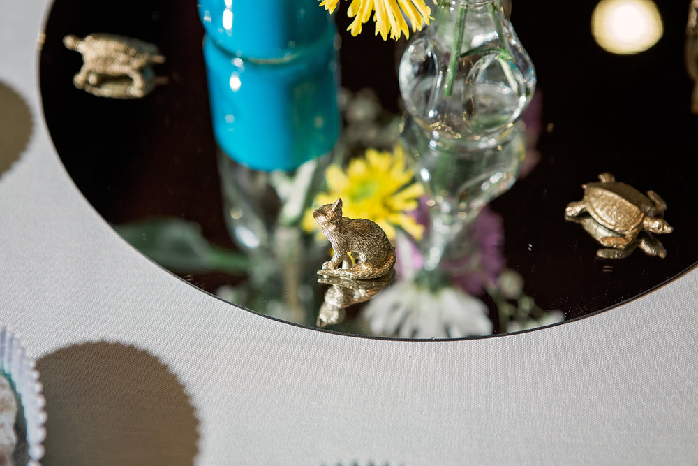 cat and turtle decorations at Brittany & Hieu's wedding