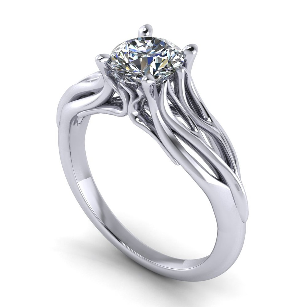 Joy's Ring solitaire engagement ring by Takayas - CAD rendering - perspective view
