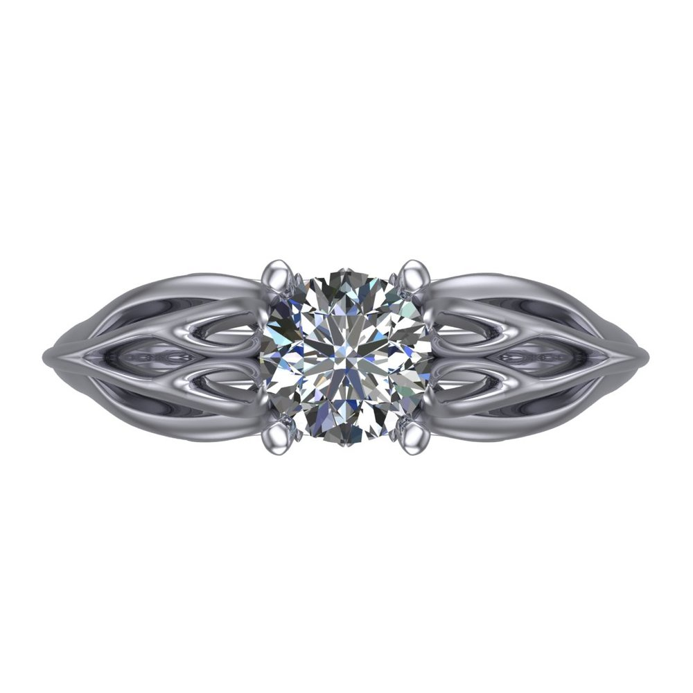 Joy's Ring solitaire engagement ring by Takayas - CAD rendering - top view