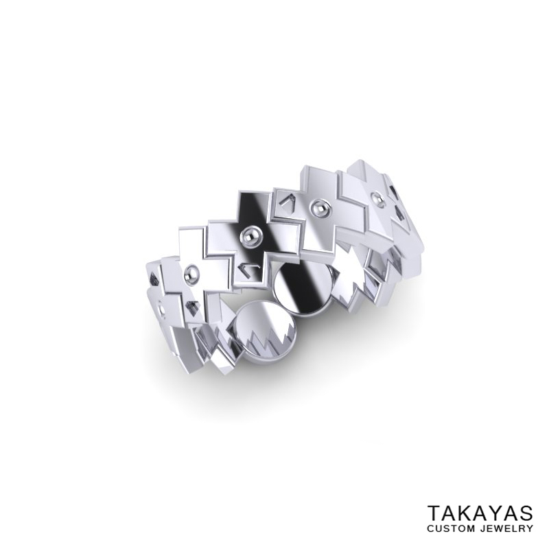 Konami Code Wedding Ring 1 Takayas Custom Jewelry
