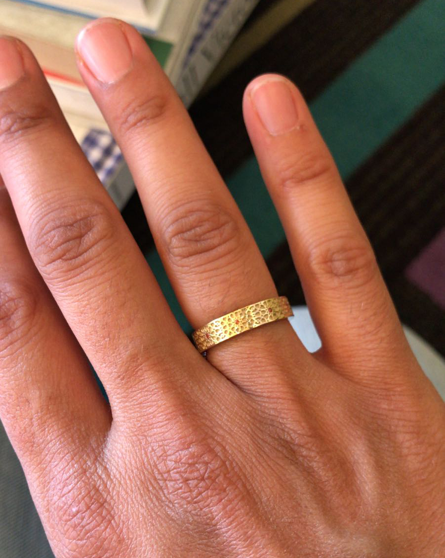 the Moroccan mosaic inspired ring at home on Salma's hand