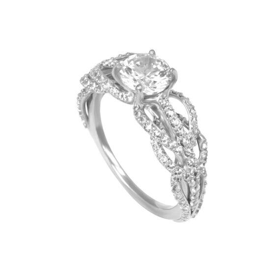 Nouveau Engagement Ring 18K White Gold Diamonds