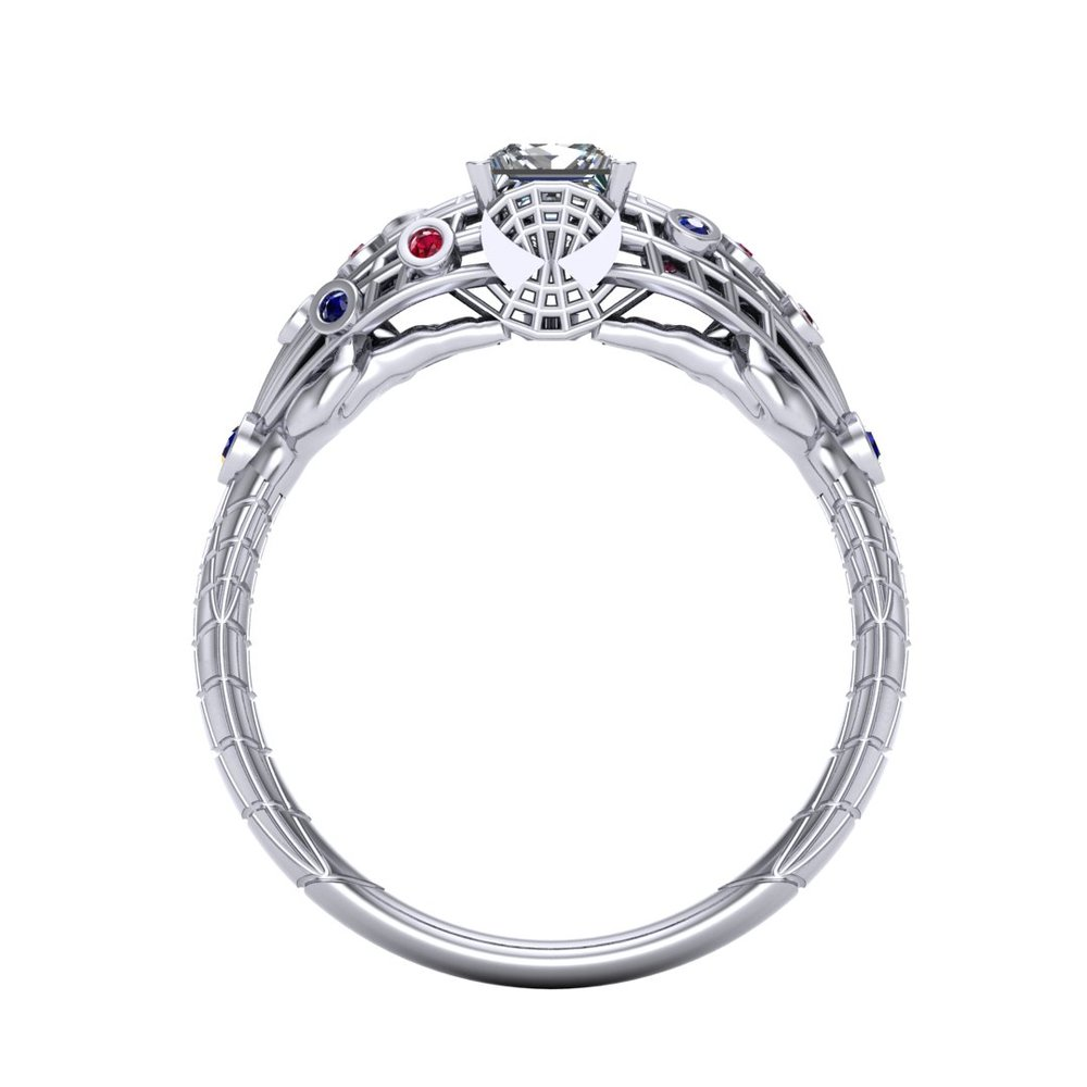 Spider-Man (Spiderman) engagement ring by Takayas CAD rendering front view