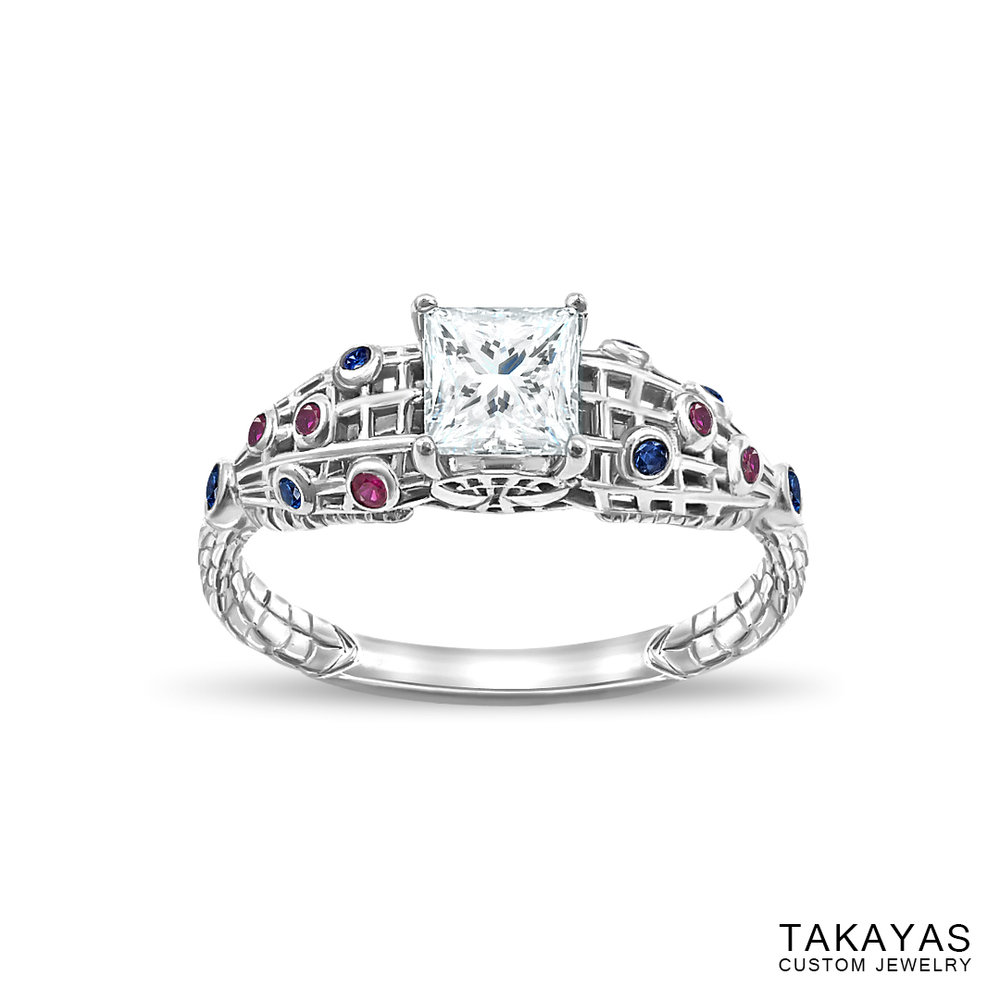 photograph of Spider-Man (Spiderman) engagement ring by Takayas - angled top view