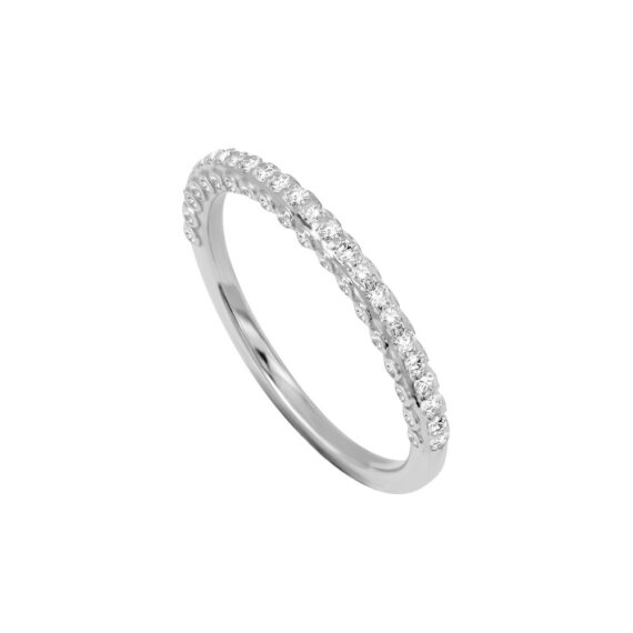 Stackable Ring 18K White Gold Diamonds