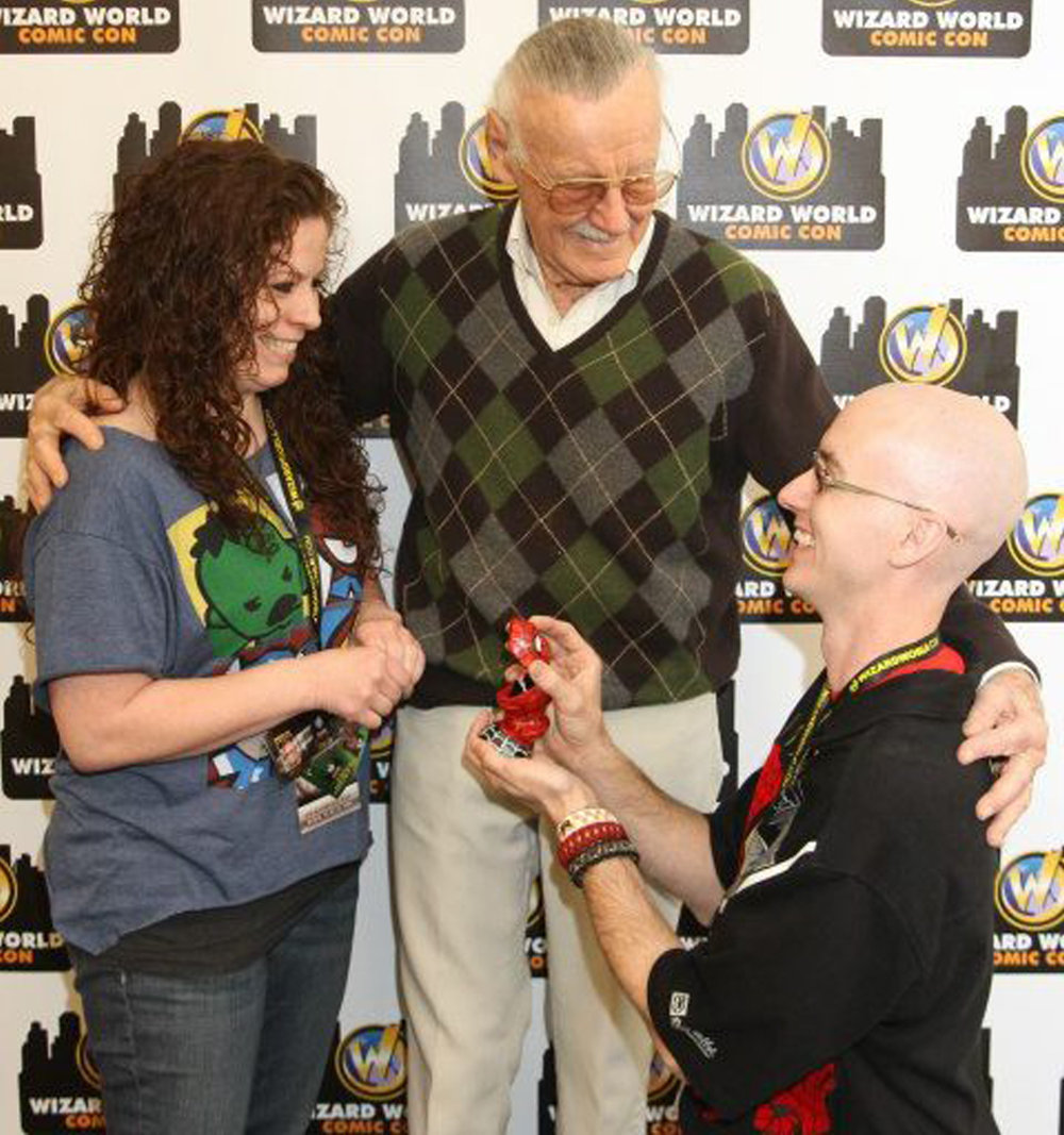 Stan Lee witnessed the proposal with the unique Spider-Man (Spiderman) engagement ring designed and created by Takayas